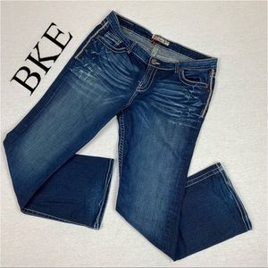 BKE Denim Kate Stretch Distressed Dark Wash Bootcut Embroidered Pocket Jeans